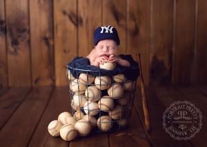 Buffalo NY Newborn Photographer Baby Boy Baseball Theme