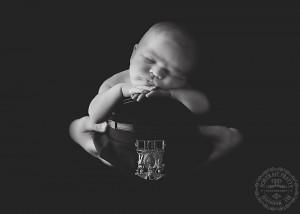 newborn boy police officer hat black and white