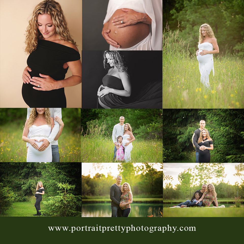 Portrait pretty photography maternity session at studio location