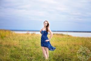 Aya Senior Portraits Blue dress wind waterfront