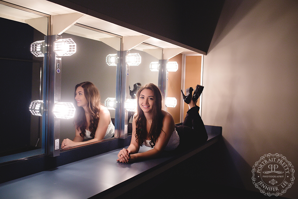 Sheas senior portraits in dressing room by portrait pretty photography